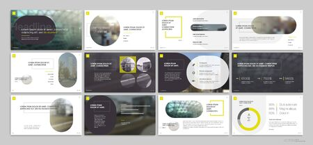 Presentation template, yellow minimalist infographic elements on white background. Vector slide template for business project presentations and marketing. Illusztráció