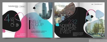 Covers templates set with graphic geometric elements. Applicable for flyer, cover annual report, placards, brochures, posters, banners. Vector illustrations. Illusztráció