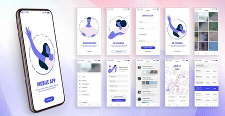 Conception de l'application mobile, UI, UX. Un ensemble d'écrans GUI avec connexion et mot de passe, page d'accueil, fil d'actualités, évaluation et statistiques, paramètres et écrans de paiement.
