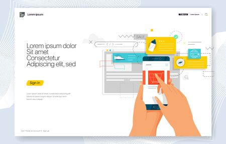 Creative concepts of web page design for website and mobile website development.