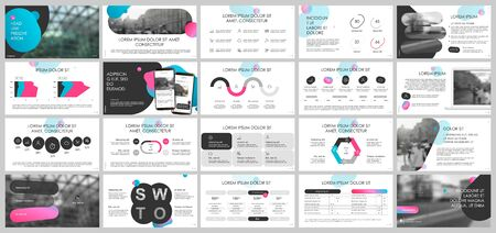 Presentation template, Gradient and black infographic elements on white background. Vector slide template for business project presentations and marketing. Illusztráció