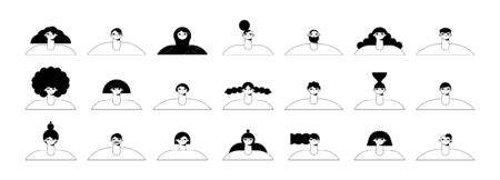Set of portraits of people of different races and cultures, avatars isolated on a white background. Vector flat illustration in different situations. Use in Web Project and Applications.