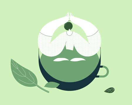 Girl sitting in a cup of tea. Flat design style minimal vector illustration. Use in web projects and applications.