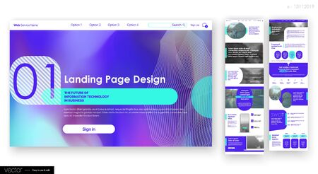 Landing Page Design from Website. Web UI UX Design. Business Social Economy Blog, Services, Products Company, Corporate User Interface Template Stock Vector - 135043171