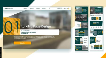 Landing Page Design from Website. Template Vector Business Interface. Landing Web Page UI UX Design. Responsive Blank. Business Social Economy Blog Services Products Company, Corporate User Interface