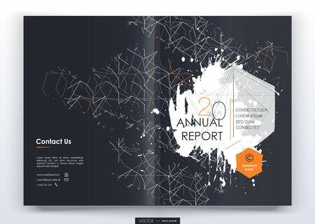 Informe anual de diseño de portada, folletos de plantillas vectoriales, volantes, presentaciones, prospecto, revista tamaño a4. Fondo de diseño minimalista Ilustración de vector