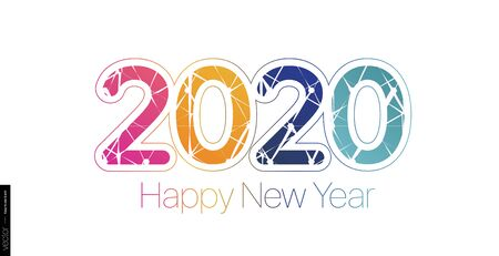 2020 Happy New Year. Minimalist colored text on a white background. Minimalistic template.