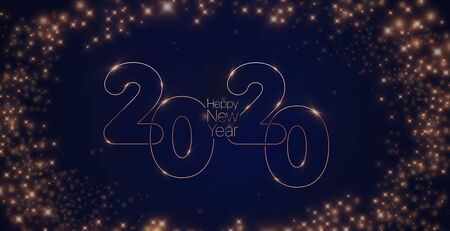 2020 Happy New Year. Elegant thin letters on a background of the night sky with stars. Minimalistic vector template.