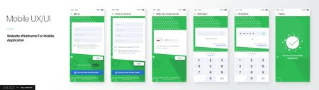 Design of a Mobile Application and Site, UI. Set of GUI Screens with Login and Password input, Phone number Verification. Vector Mockup Иллюстрация