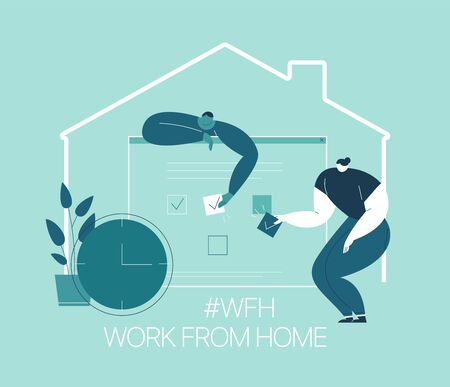 WFH - Work from home, home office. An employee works from home because of the 2019-nCoV coronavirus epidemic. Thin lines illustration in flat style. Ilustracja