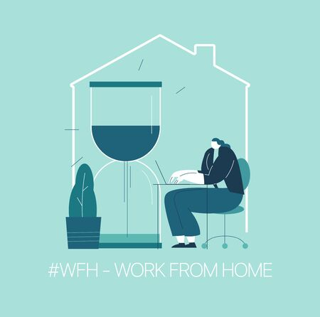 WFH - Work from home, home office. An employee works from home because of the 2019-nCoV coronavirus epidemic. Thin lines illustration in flat style. 스톡 콘텐츠 - 143790433