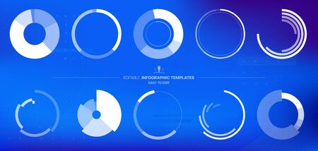 Editable Infographic Templates. Use in corporate report, marketing, annual report. Network management data screen with charts, diagrams. Hud vector interface 일러스트