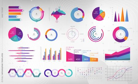 Editable Infographic Templates. Use in corporate report, marketing, annual report. Network management data screen with charts, diagrams. Hud vector interface Ilustracja