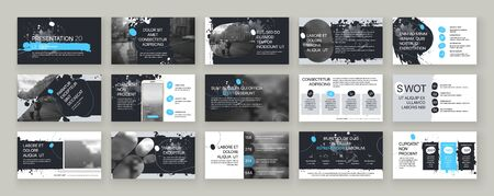 Blue presentation templates elements on a white background. Vector infographics. Use in Presentation, flyer and leaflet, corporate report, marketing, advertising, annual report, banner. 스톡 콘텐츠 - 144409911
