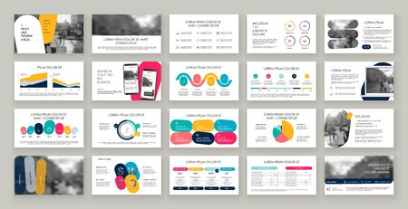 Blue presentation templates elements on a white background. Vector infographics. Use in Presentation, flyer and leaflet, corporate report, marketing, advertising, annual report, banner. Vetores