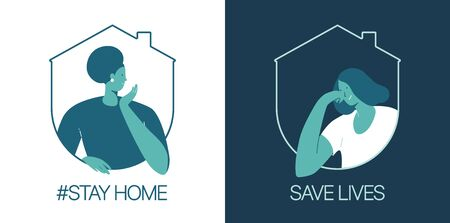 Stay at home, save lives. Social Media campaign aimed at preventing the spread of the COVID-19 coronavirus epidemic. Çizim