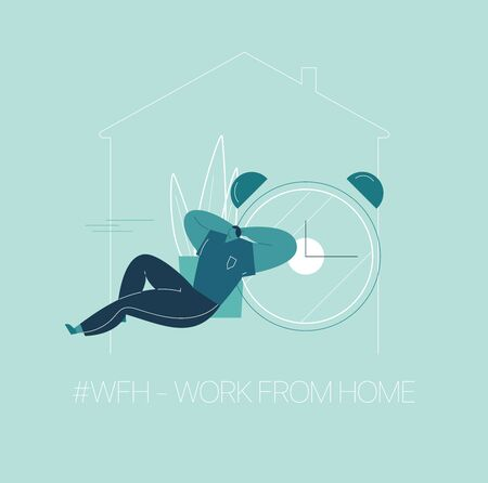 WFH - Work from home, home office. An employee works from home because of the COVID-19 coronavirus epidemic. Thin lines illustration in flat style. 스톡 콘텐츠 - 145194091