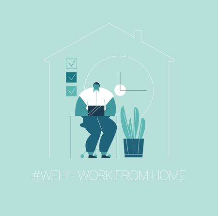 WFH - Work from home, home office. An employee works from home because of the COVID-19 coronavirus epidemic. Thin lines illustration in flat style.