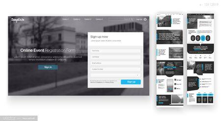 Website Design Template. Web UI UX Design. Corporate User Interface. Online Event Regestration Form. Vector illustration. EPS 10 Ilustracja