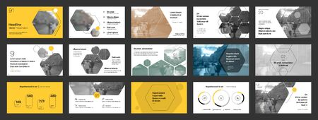 Geometric Yellow Presentation Element Templates. Vector infographics. For use in Presentation, Flyer and Leaflet, SEO, Marketing, Webinar Landing Page Template, Website Design, Banner. Ilustracja