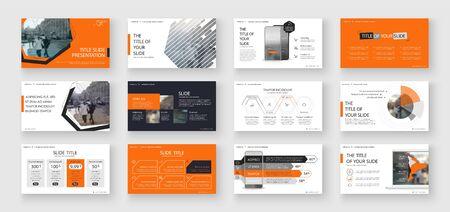 Geometric Orange Presentation Element Templates. Vector infographics. For use in Presentation, Flyer and Leaflet, SEO, Marketing, Webinar Landing Page Template, Website Design, Banner. Ilustracja