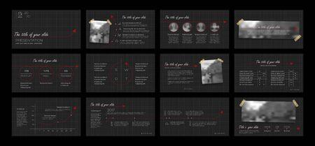 Dark Presentation Element Templates. Vector infographics. For use in Presentation, Flyer and Leaflet, SEO, Marketing, Webinar Landing Page Template, Website Design, Banner. Ilustracja
