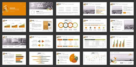 Geometric Orange Presentation Element Templates. Vector infographics. For use in Presentation, Flyer and Leaflet, SEO, Marketing, Webinar Landing Page Template, Website Design, Banner. 일러스트