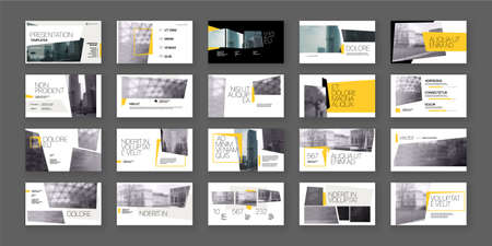 Geometric Yellow Presentation Element Templates. Vector infographics. For use in Presentation, Flyer and Leaflet, SEO, Marketing, Webinar Landing Page Template, Website Design, Banner. 版權商用圖片