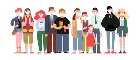 People of different ages and different skin colors in medical masks are standing nearby. Respiratory protection of people during the covid-19 epidemic. Covid19 Quarantine. Cartoon Vector Illustration