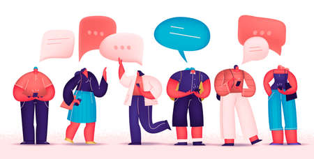 Social Network and Virtual Communication. Group Of Young People Characters Chatting Using Smartphone For Website Or Web Page. Flat cartoon vector illustration. 스톡 콘텐츠 - 152361828