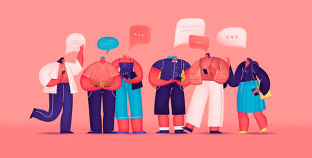 Social Network and Virtual Communication. Group Of Young People Characters Chatting Using Smartphone For Website Or Web Page. Flat cartoon vector illustration.