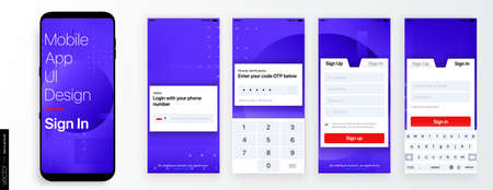 Design of the Mobile Application UI, UX. Set of GUI Screens with Login and Password input, Sign In and Sign Up 일러스트