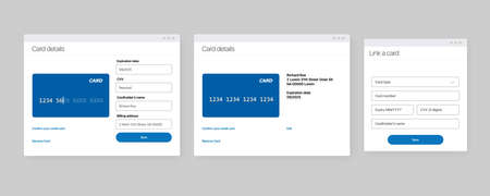 Add bank card banner template. Payment methods design concept. Link Your Bank Account Add Credit Card Step Screen. UI UX design