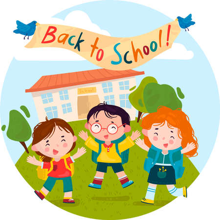 Welcome back to school. Children rejoice and jump with happiness on the lawn against the background of the school. Cartoon Vector Illustration 일러스트