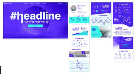 Landing Page Design from Website. Web UI UX Design. Corporate User Interface 일러스트