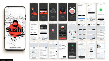 Sushi Delivery. Design of the Mobile Application, UI, UX. Set of GUI Screens with Login and Password input, and screens with Menu, Add to Cart, Payment and Delivery Tracking. 일러스트