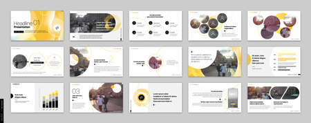 Geometric Yellow Presentation Element Templates. Vector infographics. For use in Presentation, Flyer and Leaflet, SEO, Marketing, Webinar Landing Page Template, Website Design, Banner. 일러스트