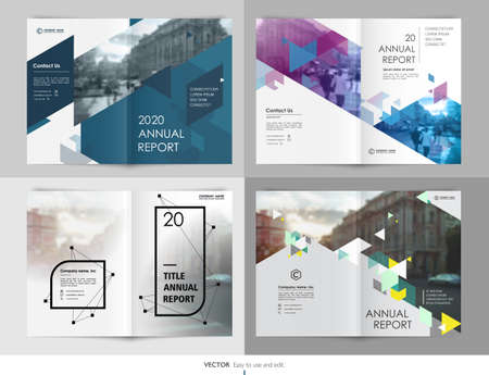 Covers templates set with graphic geometric elements. Applicable for flyer, cover annual report, placards, brochures, posters, banners. Vector illustrations. Ilustración de vector