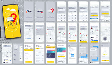 Design of the Mobile Application, UI, UX. Set of GUI Screens Taxi App with Login and Password input, and screens with Taxi Orders and Car Navigation in the City