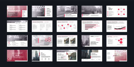 Geometric Red Presentation Element Templates. Vector infographics. For use in Presentation, Flyer and Leaflet, SEO, Marketing, Webinar Landing Page Template, Website Design, Banner. 스톡 콘텐츠