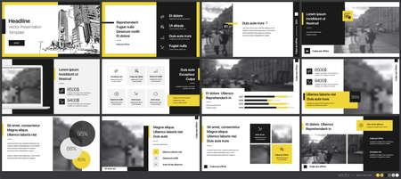 Geometric Yellow Presentation Element Templates. Vector infographics. Vetores