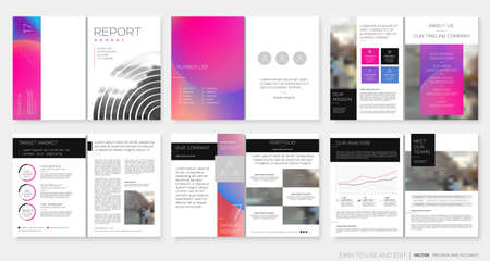 Template for the Annual Report, Design with elements of a round shape and bright colors. Portfolio Flyer Booklet Brochures Layout Flyer Magazine. Vector illustration EPS10 Ilustração