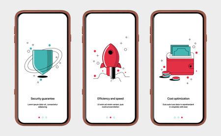 Set of start screens for mobile app design. Shield, rocket, purse with money and coins. Vector onboarding illustration flat design.