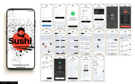 Sushi Delivery. Design of the Mobile Application, UI, UX. Set of GUI Screens with Login and Password input, and screens with Menu, Add to Cart, Payment and Delivery Tracking. Ilustração