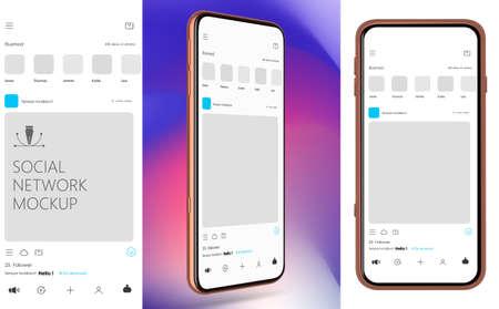 Social Media Mockup. Design of mobile app. Vector Template. 矢量图像
