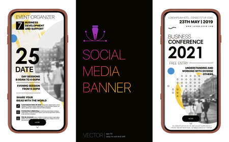 Design Social Media Banners. Design of advertising in social networks. Full screen rectangular banners for mobile phones and tablets. Vector Mockup