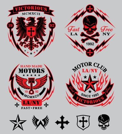 Motorcycle emblem set Vector