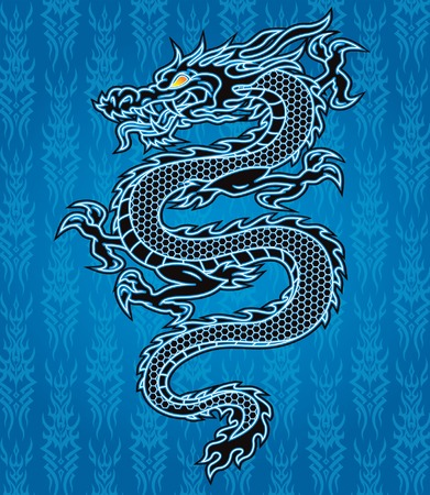 Black dragon on blue tribal background