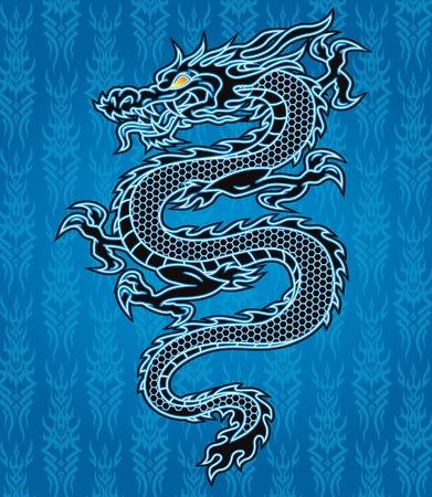 Zwarte draak op blauwe tribale achtergrond Stock Illustratie