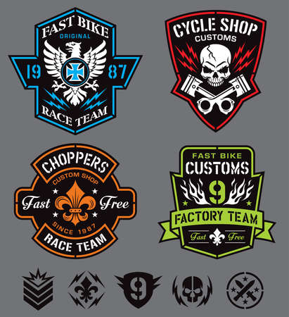 tshirts: Biker insignia set Illustration